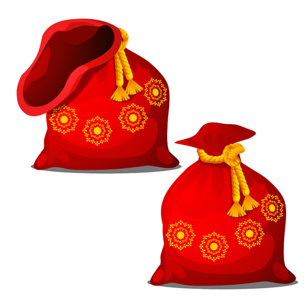 A red pouch of Santa Claus isolated on white background. Vector cartoon close-up illustration