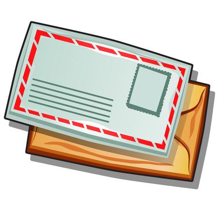 Mailing envelope isolated on white background. Vector cartoon close-up illustration