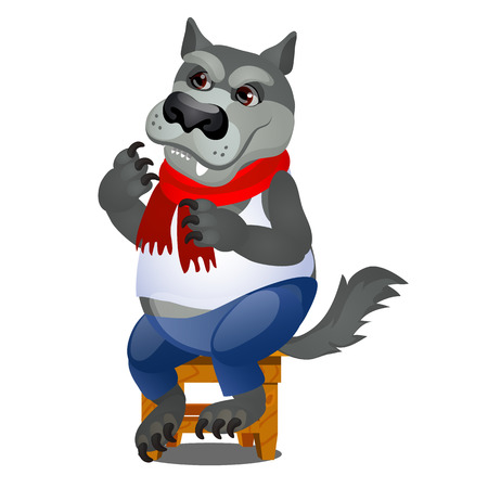 Animated gray wolf sitting on a wooden stool isolated on white background. Vector cartoon close-up illustration