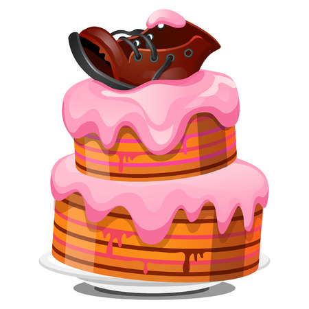 Festive layered biscuit cake covered with cream, ragged old leather boot isolated on white background. Sketch for greeting card, festive poster, party invitation. Vector cartoon close-up illustration Illustration