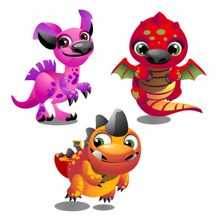 Set of funny colorful fantasy pets with big trusting eyes isolated on white background. Elements to create images, cards and other graphics in style for children. Vector cartoon close-up illustration