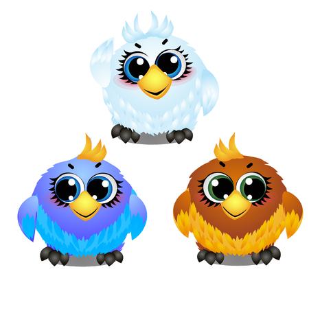 Insieme degli uccelli animati colorati divertenti con grandi occhi fiduciosi isolati su priorità bassa bianca. Elementi per creare immagini in stile per i bambini. Illustrazione del primo piano del fumetto di vettore