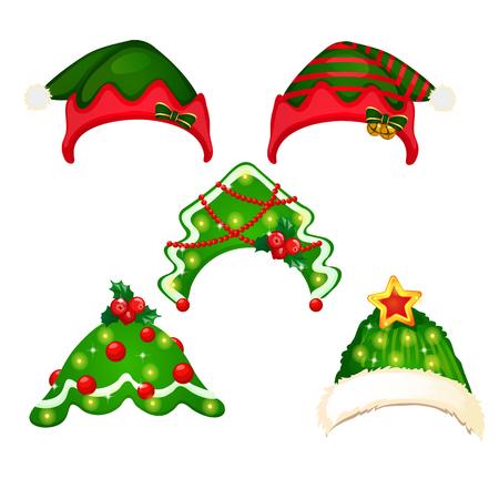 Ein Satz Hut und Stirnbänder im Stil von Weihnachten und Neujahr isoliert auf weißem Hintergrund. Vektor-Cartoon-Nahaufnahme