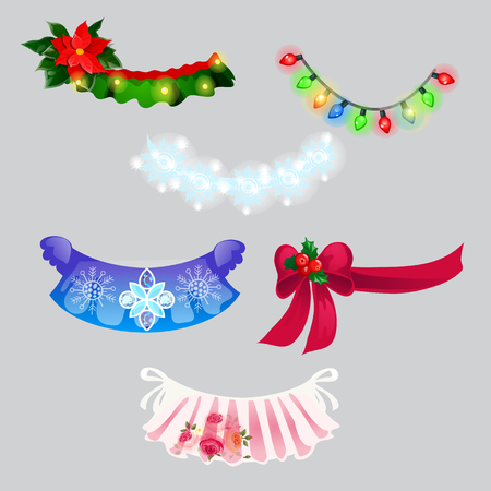 A set of decorations in the form of Christmas garlands and necklaces isolated on grey background. Vector cartoon close-up illustration