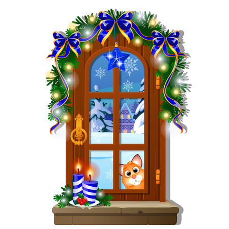 Cozy interior home window. Evening view from window of outdoor winter snow isolated on white background. Sample of Christmas poster, party invitation. Burning candle, garland. Vector cartoon close-up.