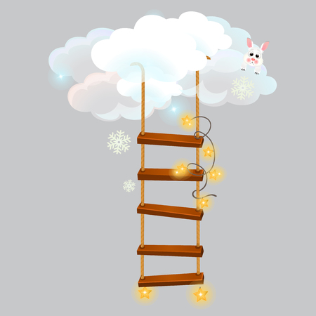 The hanging ladder leading into the snow clouds isolated on grey background. Sketch for greeting card, festive poster or party invitations. Vector cartoon close-up illustration