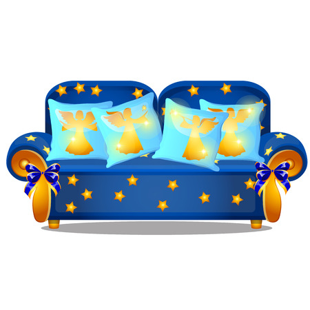 Blue sofa with gold armrests and an ornament in the form of yellow stars isolated on a white background. Set of pillows with image of angels silhouettes. Vector cartoon close-up illustration