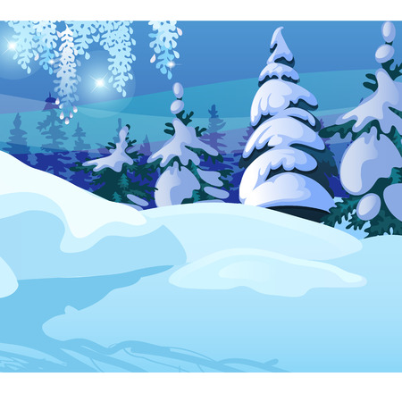 Winter sketch on the background of snowy spruce and tree in the forest. Sample of Christmas and New year greeting card, festive poster or party invitations. Vector illustration close-up cartoon