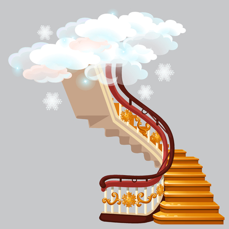 The golden stairs leading into the snow clouds with snowflakes isolated on gray background. Sketch for greeting card, festive poster or party invitations. Vector cartoon close-up illustration