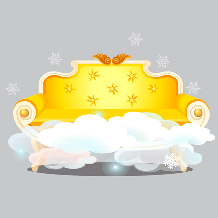 Vintage golden sofa with clouds isolated on grey background. The highest degree of comfort. Vector cartoon close-up illustration.