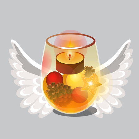 Christmas sketch with burning tea or floating candle in transparent glass with festive natural decorations, angel wings, glowing star isolated on grey background. Vector cartoon close-up illustration Illusztráció