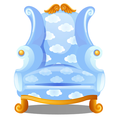 Armchair with texture of clouds isolated on white background. The highest degree of comfort. Vector cartoon close-up illustration.