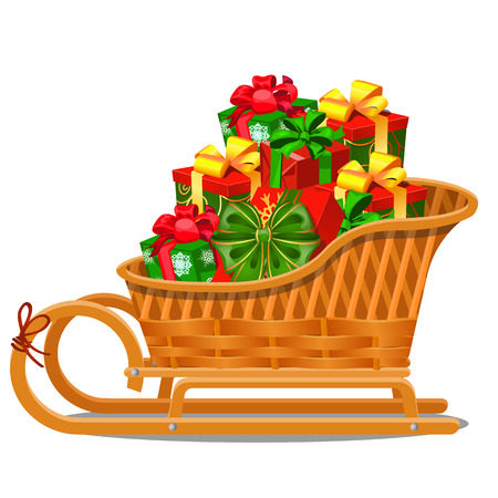 Wiklinowe sanie drewniane z świątecznych pudełek prezentowych na białym tle na białym tle na szarym tle. Próbka świątecznego plakatu, zaproszenia na przyjęcie i innych kartek. Ilustracja wektorowa z bliska kreskówka