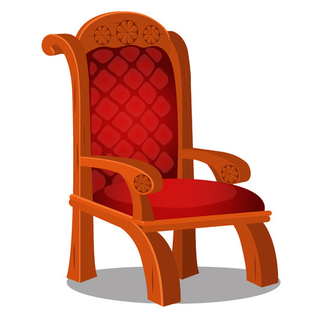 Vintage wood chair with red upholstered isolated on a white background. Vector cartoon close-up illustration. Vettoriali