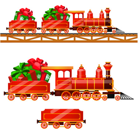 Little red train with wagons by rail carries boxes with Christmas gifts isolated on a white background. Vector cartoon close-up illustration.