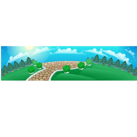 Picture in the form of a panoramic wide-angle picture with landscape with coniferous forest on the horizon and grass meadow. Vector cartoon close-up illustration