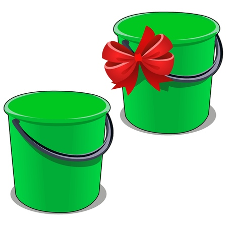 Green plastic bucket with a black handle isolated on white background. Vector cartoon close-up illustration