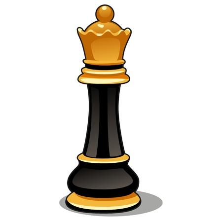 Pièce d'échecs reine noire isolée sur fond blanc. Illustration de gros plan de dessin animé de vecteur