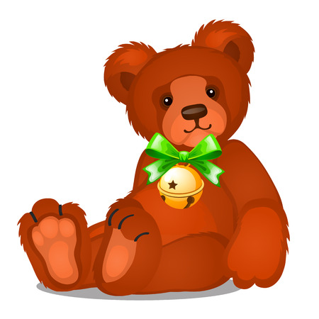 Soft toy teddy bear with jingle bells with green ribbon bow isolated on white background. Sketch of Christmas festive poster, party invitation, other holiday card. Vector cartoon closeup illustration Ilustração