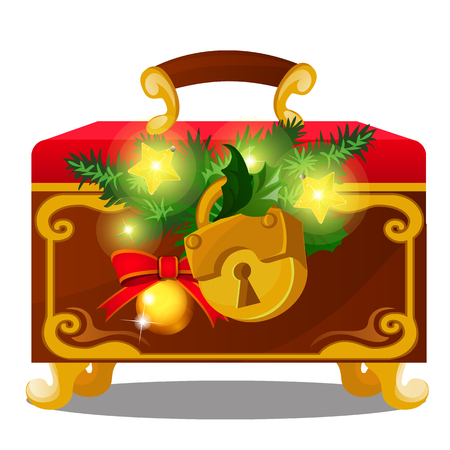 Old chest with padlock decorated with twigs of spruce, golden baubles isolated on white background. Sketch of Christmas festive poster, party invitation, holiday card. Vector cartoon close-up