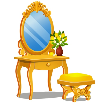 A vintage table for cosmetics, stool and a mirror with frame isolated on white background. Vector cartoon close-up illustration Illustration