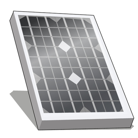 Solar panel or alternative energy photovoltaic isolated on white background. Vector cartoon close-up illustration