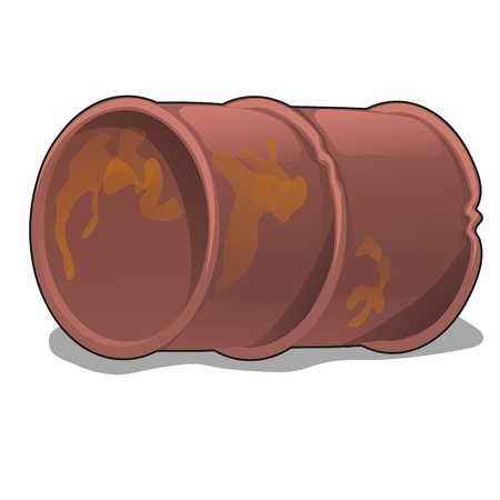 Rusty metal barrel isolated on white background. Vector cartoon close-up illustration