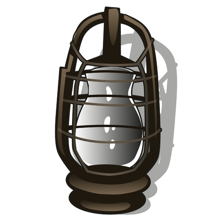 Outdoor hanging lantern in retro style isolated on a white background. Cartoon vector close-up illustration Vectores