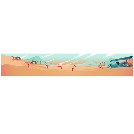 Poster with the desert landscape and the wrecks of the aircraft. Vector cartoon close-up illustration Ilustração
