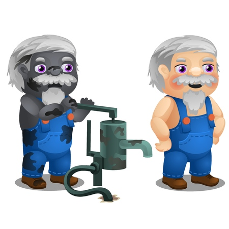 Animated male workman with coverall and broken water hand pump isolated on white background. Vector cartoon close-up illustration