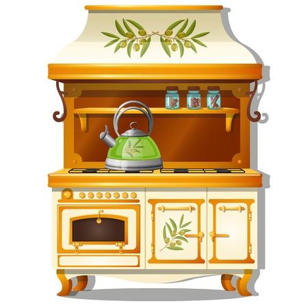 Set da cucina in legno con fornello a gas e ripiano per spezie isolato su bianco