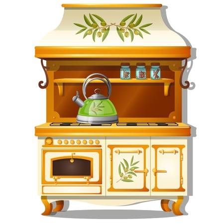 Wooden kitchen set with a gas stove and a shelf for spices isolated on white