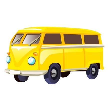 Retro travel yellow van isolated on white