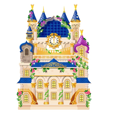 Fairytale castle festively decorated with flowers and golden watch isolated on white