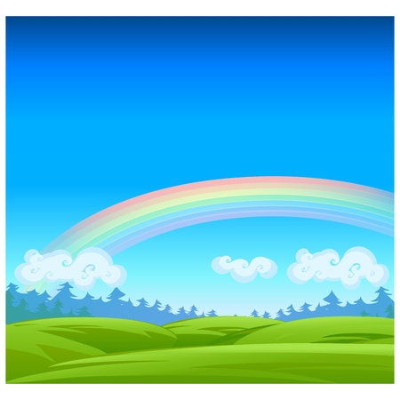 Landscape with coniferous forest on the horizon, clouds, rainbow and grassy meadow. Vector cartoon close-up illustration