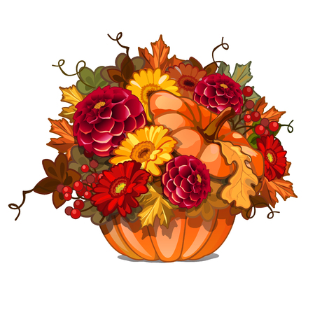 Floral arrangement of bright flowers in ripe orange pumpkin isolated on a white background. Vector cartoon close-up illustration Vektorové ilustrace