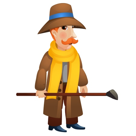 A man in a coat and hat holding a stick in his hands isolated on white background. Vector cartoon close-up illustration