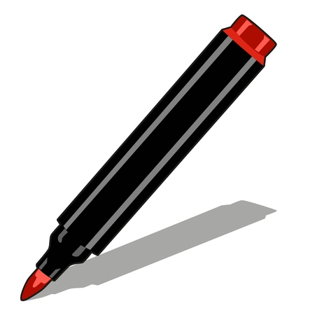 Red marker isolated on white