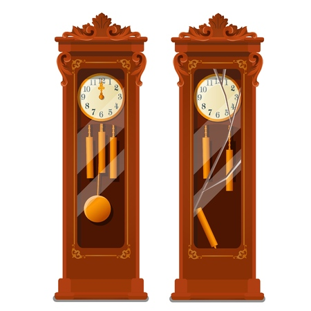 Antique wooden grandfather clock with broken glass isolated on white background. Vector cartoon close-up illustration
