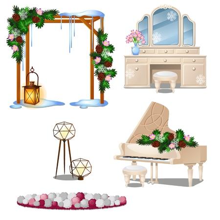 Set di elementi interni mobili vintage isolati su sfondo bianco. Illustrazione del primo piano del fumetto di vettore Vettoriali