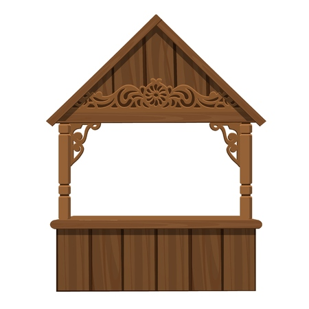 Trading tent made of wood isolated on white background. Vector cartoon close-up illustration