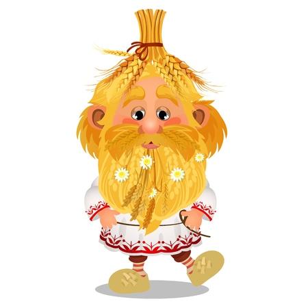 Brownie animado con un gorro de espigas de trigo maduro, flores de manzanilla en la barba aisladas sobre fondo blanco. Ilustración de primer plano de dibujos animados de vector