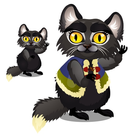Sly animated black furry cat with yellow eyes in a vest isolated on white background. Vector cartoon close-up illustration Ilustracje wektorowe
