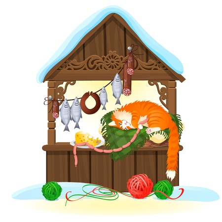 Stall for sale of food product isolated on white background. Tent on the marketplace. Happy ginger striped cat. Vector cartoon close-up illustration