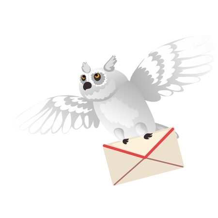 Animated polar owl holding a letter in its paws isolated on white background. Vector cartoon close-up illustration