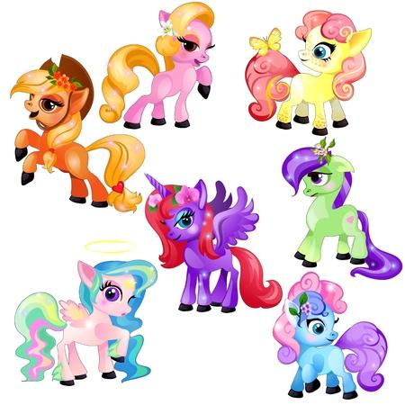 Set di coloratissimi pony carini e unicorno isolati su sfondo bianco. Illustrazione del primo piano del fumetto di vettore