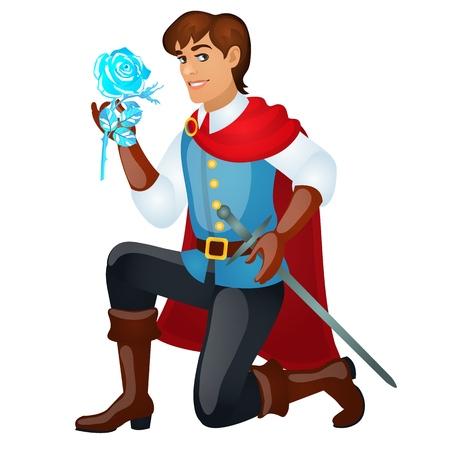 Joven apuesto príncipe con una espada sosteniendo una rosa de hielo aislada en blanco