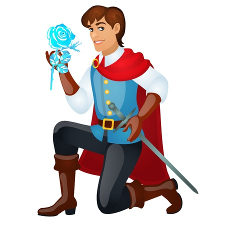 Young handsome prince with a sword holding an ice rose isolated on white