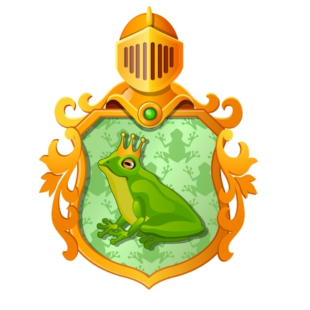 Golden ornate coat of arms or emblem with the image of a green frog in the royal crown isolated on white