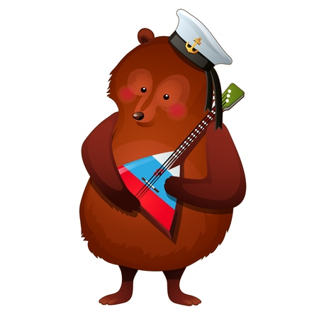 The brown bear in the sailor hat holds the national Russian musical instrument balalaika in its paws isolated on white background. Vector cartoon close-up illustration Ilustração